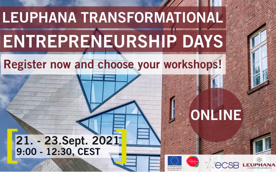 Registration open for Leuphana Transformational Entrepreneurship Days